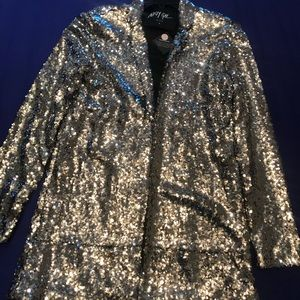 Nasty Gal medium size silver sequined jacket